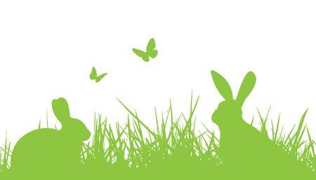lapin silhouette: Lapins de Pâques dans l'herbe silhouette Illustration