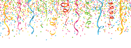 confetti and streamers on white background