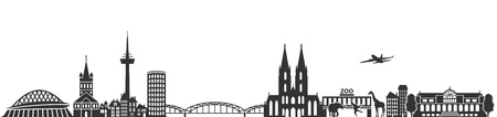 cologne skyline German city Stock Illustratie