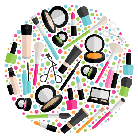 make up products: cosmetic vector circle