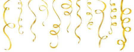 serpentinas: serpentinas del oro fij� en el fondo blanco