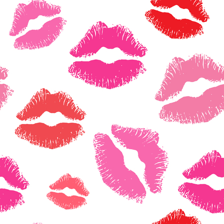 seamless kiss lips background pattern Vettoriali