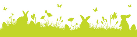 easter bunnies silhouette vector background Illustration