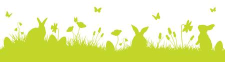 Los conejos de Pascua de fondo la silueta del vector Ilustración de vector