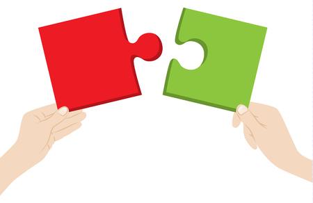 mains avec des pièces de puzzle Vecteurs