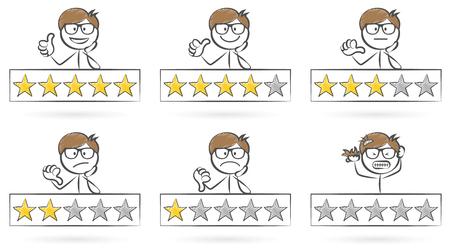 Sterne Bewertung Stickman Set Vektorgrafik