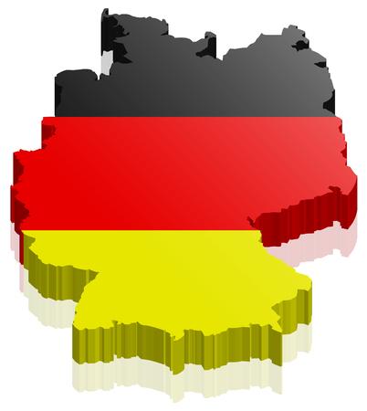 Niemcy mapa 3d z niemiecką flagą