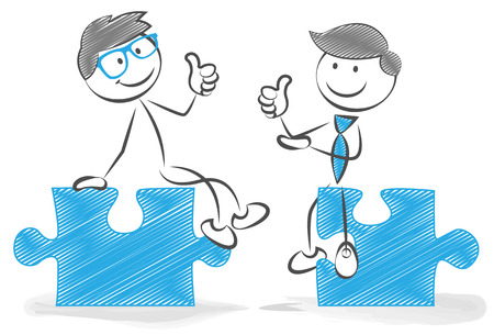 man thumbs up: stickfigures with puzzle pieces Illustration