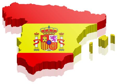 Spanje kaart met vlag