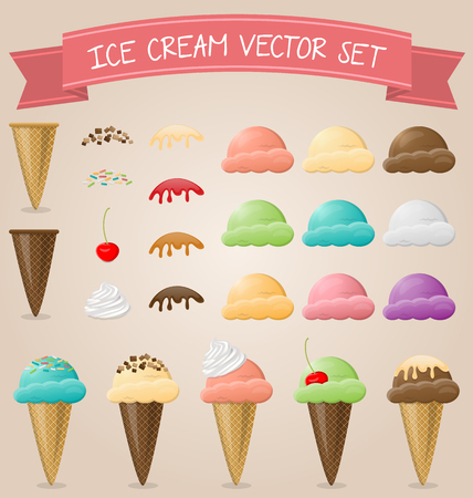 ice cream cone vector set