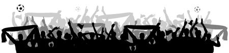 soccer fans crowd silhouette Vector Illustration