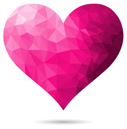 cuore rosa poligonale