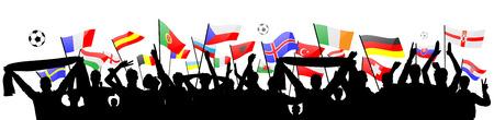 european flags: fans silhouette with european flags
