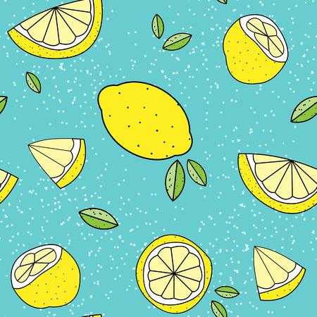 Seamless lemon pattern background Vectores