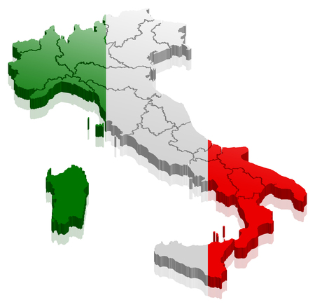 italy map 3d Illustration