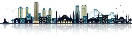 water reflection: Istanbul skyline