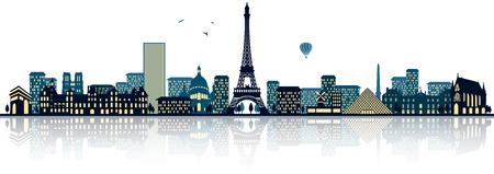 Paris skyline Vettoriali