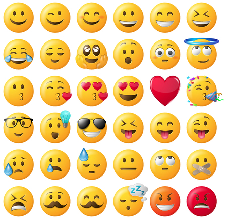smileys emoticons vector set  illustration isolated on white