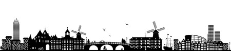 Amsterdam skyline black  illustration isolated on white 版權商用圖片 - 107624711
