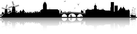 Amsterdam skyline silhouette black  illustration isolated on white