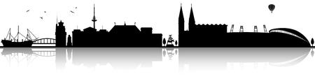 Bremen's skyline in a black silhouette on a white background Illustration