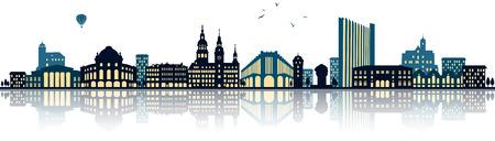 Chemnitz Skyline (germany)  illustration isolated on white Illustration