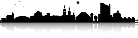 Chemnitz skyline silhouette black  illustration isolated on white