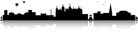 Schwerin skyline silhouette black  illustration isolated on white