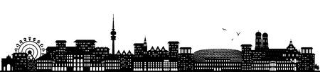 munich skyline black Stock Illustratie