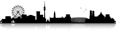 munich skyline silhouette black
