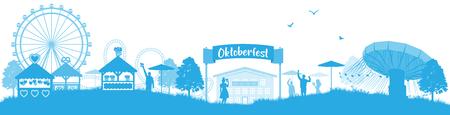Oktoberfest skyline silhouette Illustration