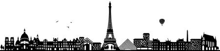 Skyline van Parijs zwart