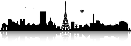 Paris skyline silhouette black