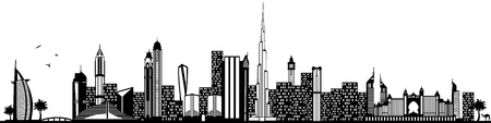 Dubai skyline black