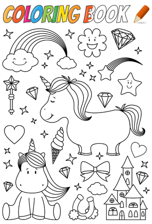 unicorn coloring book template illustration isolated on white