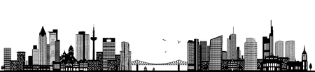 Frankfurt skyline black illustration isolated on white 向量圖像