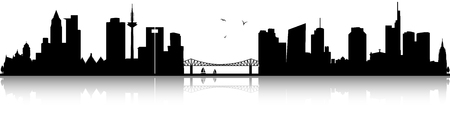 Frankfurt skyline black silhouette illustration isolated on white