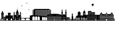 Mainz skyline black (Germany)