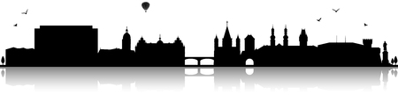 Mainz skyline silhouette black (Germany) Illustration