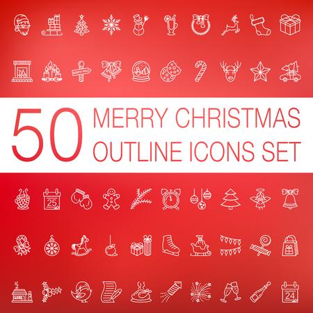 Christmas outline icons set Illustration