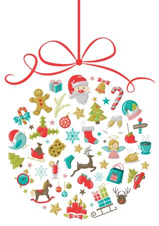 christmas icons bauble Vektoros illusztráció