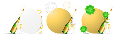 New year champagne buttons vector set