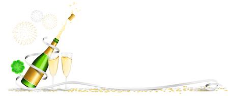 Happy new year champagne fireworks clover confetti banner Ilustração
