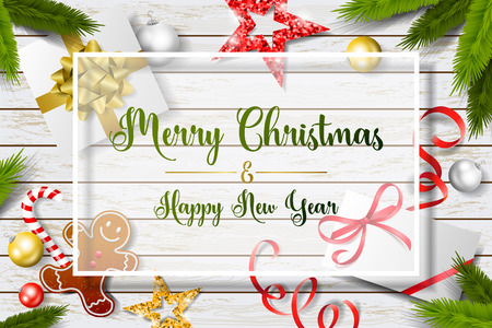 Merry christmas and new year background card