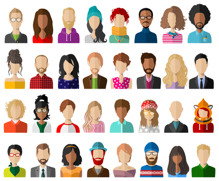 People avatar flat vector set Illustration