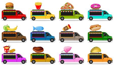 Food trucks vector set isolated