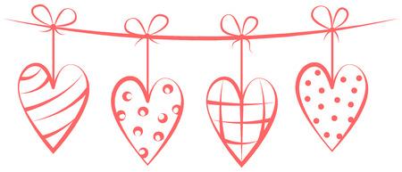 red hearts hanging drawing Иллюстрация