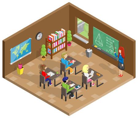 Isometrisches Design des Schulklassenzimmers Vektorgrafik