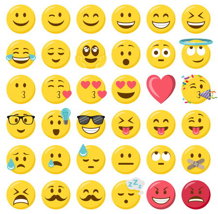 smileys emoticons vector set Illustration