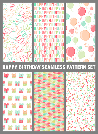 Happy birthday seamless pattern background set